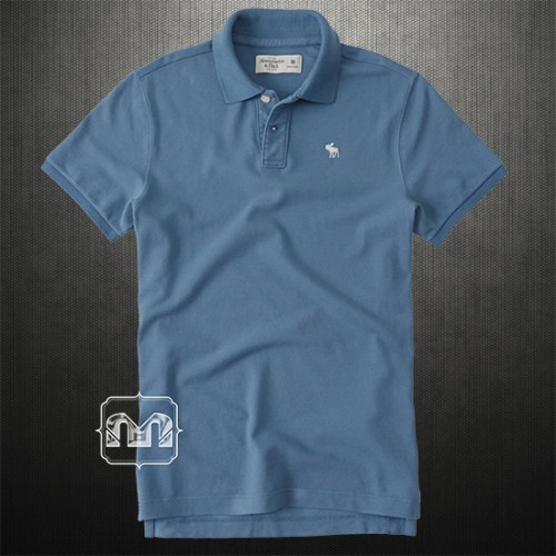 Abercrombie & Fitch Men Solid Blue Icon Polo Shirts With Chest Deer Logo
