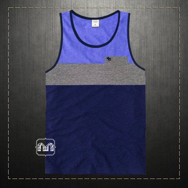 88e82dac56ea37 Abercrombie   Fitch ANF Men Colorblock Tank Top Navy Grey Sleeveless Pocket  Tee Icon Logo