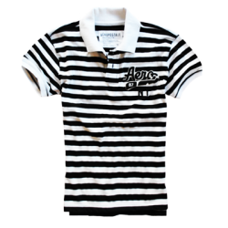 ~Aeropostale Black & White Stripes Polo Tshirt