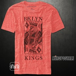 ~Aeropostale BKLYN Kings Coral Pink Graphic Tshirt