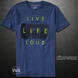 ~Aeropostale Live Life Loud Washed Navy Graphic Tshirt