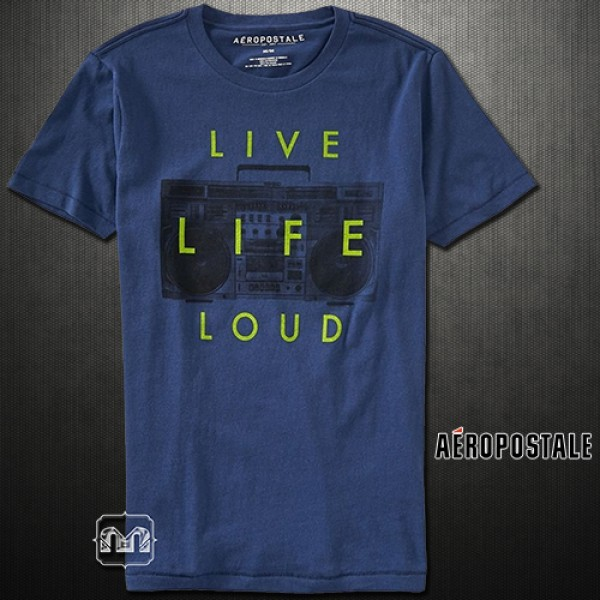 fcd21f50a035ba ~Aeropostale Live Life Loud Washed Navy Graphic Tshirt