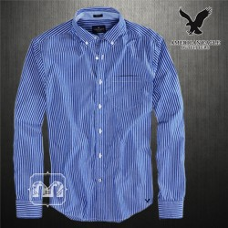 ~American Eagle Button Down Striped Blue Long Sleeve Shirt