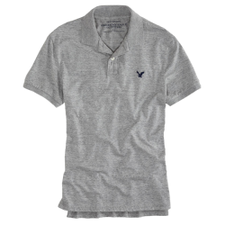 ~American Eagle Solid Grey Jersey Polo Tshirt