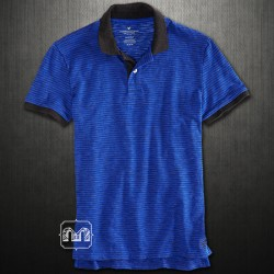 ~American Eagle Blue Striped Contrast Jersey Polo Tshirt