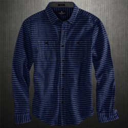 ~American Eagle Striped Navy Shirt With Black Buttons