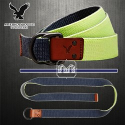 ~American Eagle Outfitters Men Reversible Double Face Navy Yellow D-Ring Buckle Canvas Belt