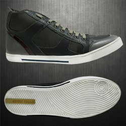 ~Antony Morato Grey Genuine Leather Hitop Sneaker Shoes