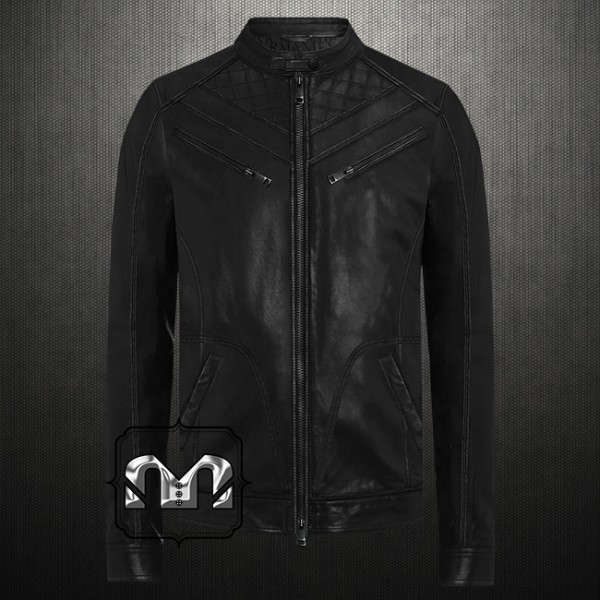 d2737d348 Armani Exchange Men Genuine Leather Quilted Zippered Moto Jacket ...