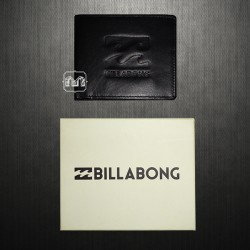 Billabong Men Bifold Genuine Leather Black Wave Wallet Pillow Embossed Logo