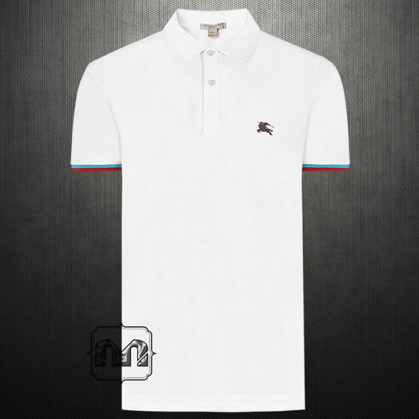 ad5bce170 Burberry Brit London Men Contrast Cuff White Pique Cotton Polo Shirt ...