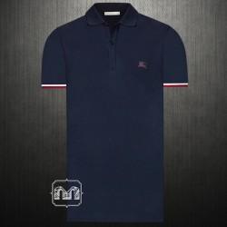~Burberry Brit London Men Contrast Cuff Navy Dark Ultramarine Pique Cotton Polo Shirt