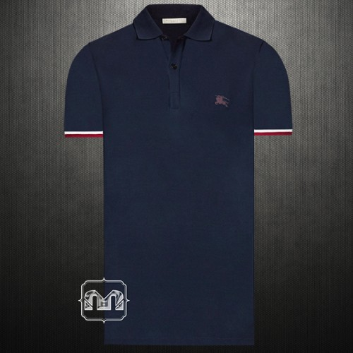 ~Burberry Brit London Men Contrast Cuff Navy Dark Ultramarine Pique Cotton Polo Shirt