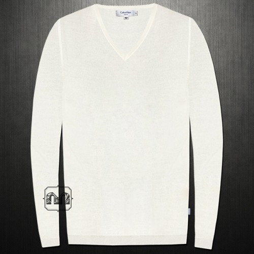 ~Calvin Klein Solid Offwhite​ Slim Fit Silk Cotton Vneck Sweater Jumper