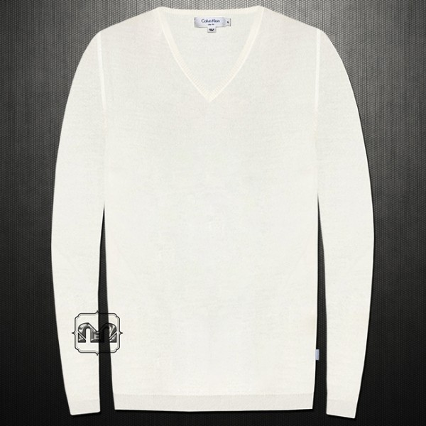 a9549d66c758 ~Calvin Klein Solid Offwhite Slim Fit Silk Cotton Vneck Sweater Jumper