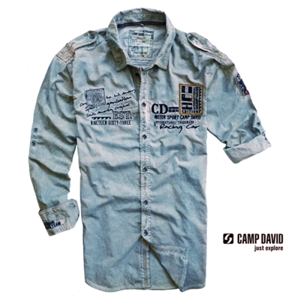 Camp David Washed Grey Rollup Sleeve Shirt Malaabes Online