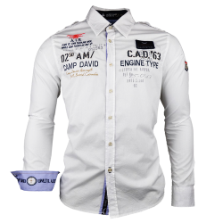 ~Camp David White Long Sleeve Shirt