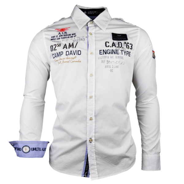 Camp David White Long Sleeve Shirt Malaabes Online