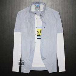 Celio Light Blue Striped Shirt With Underlying Attached Full Sleeve White Printed Tshirt Slim Fit