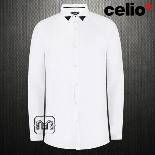 Celio Mens White Slim Fit Classic Shirt Two Tones Collar & Cuffs