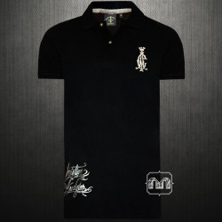 ~Christian Audigier Ed Hardy Los Angeles Mens Black Regal Rock & Roll Polo Shirt With Soul