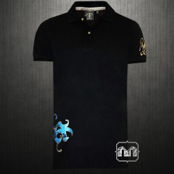 ~Christian Audigier Los Angeles Ed Hardy Black Polo Shirt C44L29
