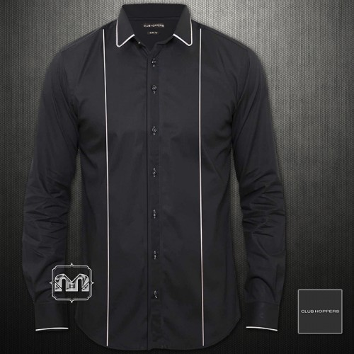 Club Hoppers Slim Fit Black Long Sleeve Shirt With Curved White Tipped Collar
