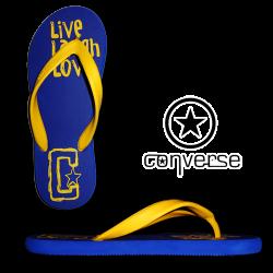 ~Converse Live Laugh Love Blue Yellow Flip Flops