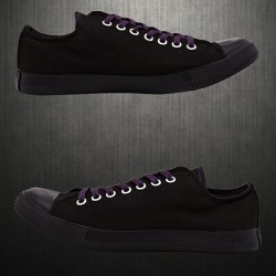 ~Converse Mens All Star Black Lowtop Sneaker Shoes Purple Lace & Double Tongue