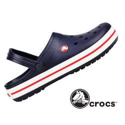 ~Crocs Navy Crocband Sandal White Sole