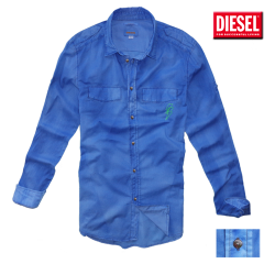 ~Diesel Thunder Logo Rollup Sleeves Washed Blue Shirt