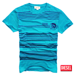 ~Diesel Crewneck Striped Green Tshirt With Chest Logo Only The Brave