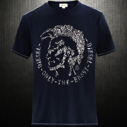 ~Diesel Crewneck Mohawk Graphic Print With People Faces Navy Tshirt