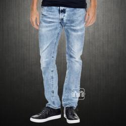 Diesel Men Buster Regular Slim Tapered Light Blue Jeans Semi Distressed Made In Italy