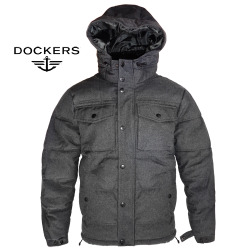 ~Dockers By Levis Quilted Utility Hooded Charcoal Coat Jacket