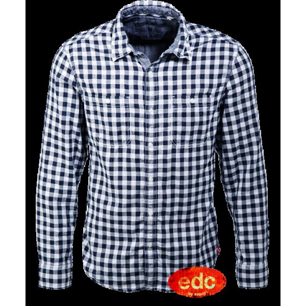 61f317b190 EDC By Esprit Navy Checks Two Tones Long Sleeve Shirt | Malaabes ...