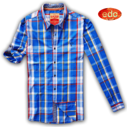 ~EDC Blue Checks Long Sleeve Shirt