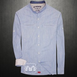 ~EDC By Esprit Blue Rollup Long Sleeve Shirt With Manderine Collar