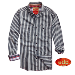 ~EDC By Esprit Long Sleeve Grey Striped Shirt