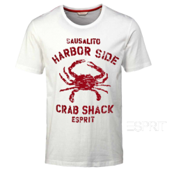 ~Esprit White Printed Roundneck Tshirt Harbor Side Crab Shack Scorpion Print