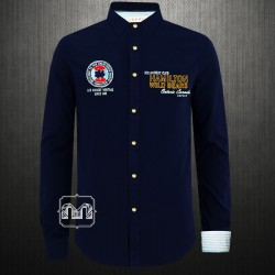 ~Esprit Sport Navy Embroidered Full Sleeves Shirt With Large Back Print