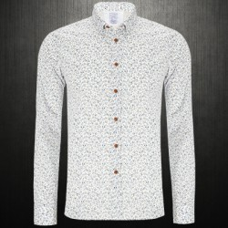 ~Esprit Long Sleeves White Floral Dotted Shirt