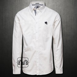 ~Express Smart Casual White Long Sleeve Shirt With Button Down & Navy Logo On Chest