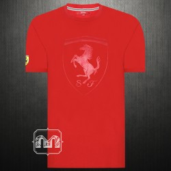 ~Ferrari Scuderia Men Front Large Shield Red Roundneck T Shirt With Back Print & Sleeve Embroidery