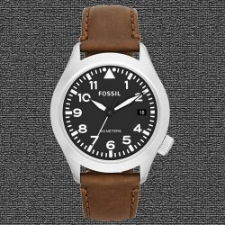 ~Fossil The Aeroflite Three-Hand Leather Watch - Brown AM4512