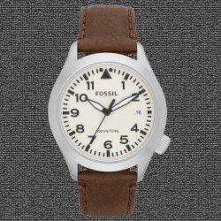 ~Fossil The Aeroflite Three-Hand Leather Watch - Brown Strap White Dial AM4514
