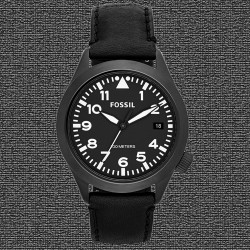 ~Fossil The Aeroflite Three-Hand Leather Watch - Black Strap Black Dial AM4515