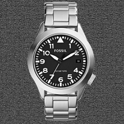 ~Fossil The Aeroflite Three-Hand Date Stainless Steel Watch - Black Dial AM4515