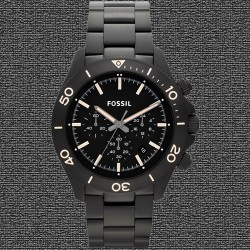 ~Fossil Retro Traveler Chronograph Stainless Steel Black Watch - Black Dial CH2915