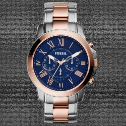 ~Fossil Grant Chronograph Stainless Steel Watch – Two-Tone Navy Dial FS5024